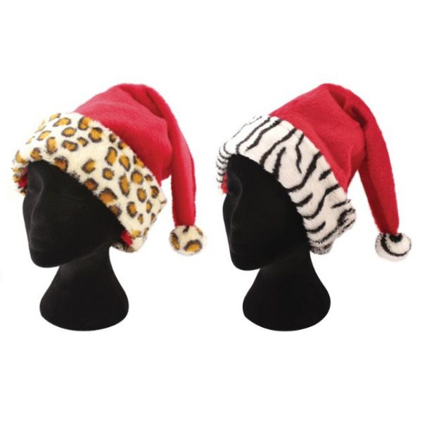 4e42507d87c44 Animal Print Trim Christmas Xmas Red Santa Hat Leopard   Zebra One ...