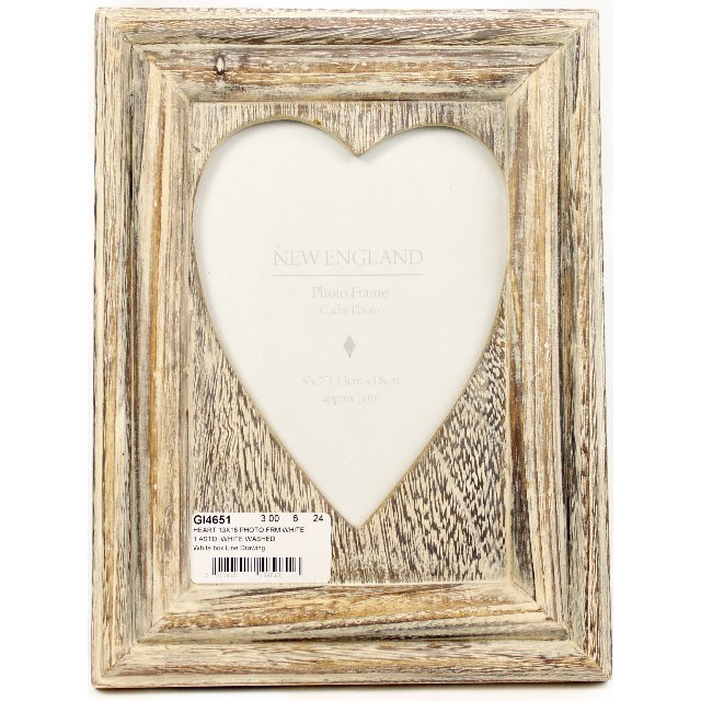 White & Gold Wooden Box Picture Photo Frame 6 x 4 Cut Out Words Text ...