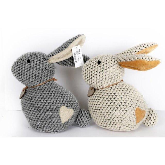 Knitted rabbit door stop novelty weighted stopper animal doorstop grey or white the home - Novelty doorstop ...