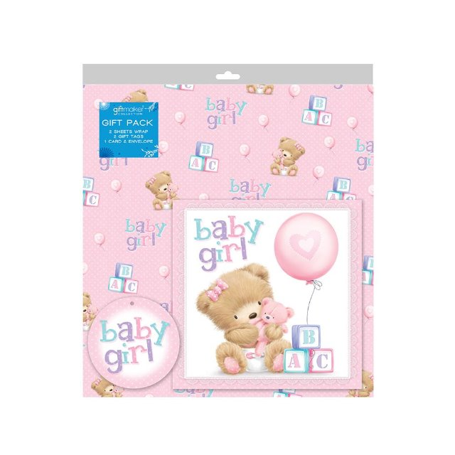 Gift Wrapped Baby Gifts Uk : Sheets of baby girl gift wrap wrapping paper card