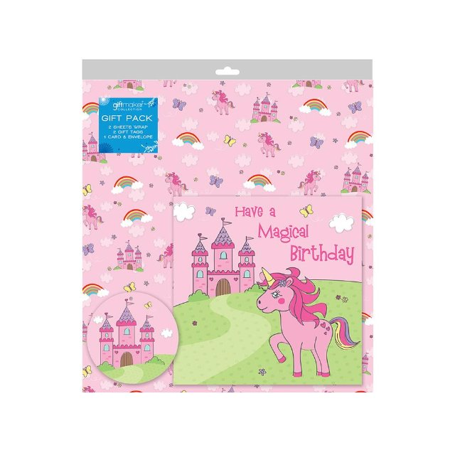 2 Sheets of Pink Unicorn Birthday Gift Wrap Wrapping Paper ,Card ...