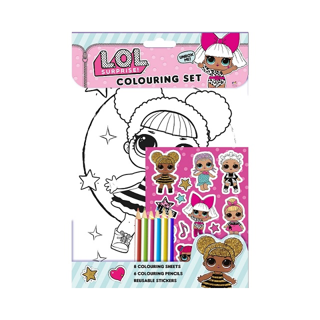Details about lol surprise colouring set with pencils stickers and colouring sheets