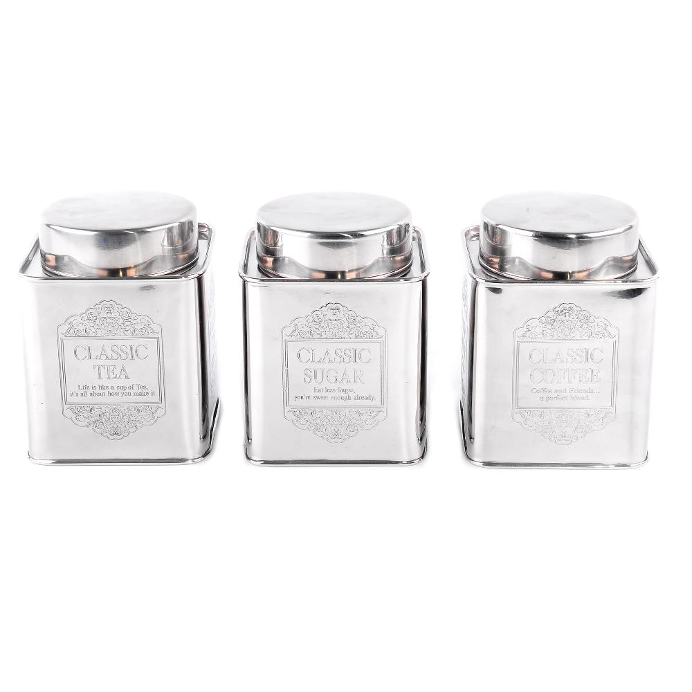 Gris//Argent Vintage Home thé café sucre pots boîtes de rangement cuisine